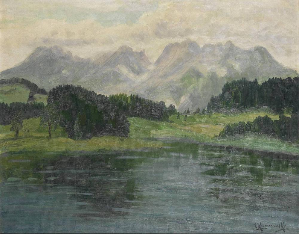 JAKOB KOGANOWSKY (1874-1926) Lake and mountains scene - signed 'J. Koganosky' [...]