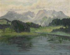 JAKOB KOGANOWSKY (1874-1926) Lake and mountains scene - signed 'J. Koganosky' [...]