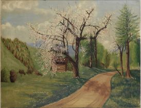 RUDOLF TARCZYNSKI (XX) Spring lansdcape - oil on canvas 72 x 92 cm painted circa [...]