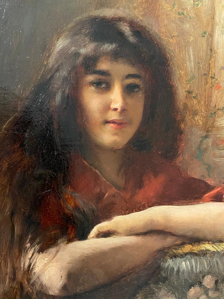 KONSTANTIN MAKOVSKY (1839-1915) Portrait of a young girl - signed in Cyrillic (upper [...] - Image 5 of 5