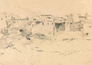 FRANZ ROUBAUD (1856-1928) View of the village of Salta in Dagestan - Signed 'Salta [...]