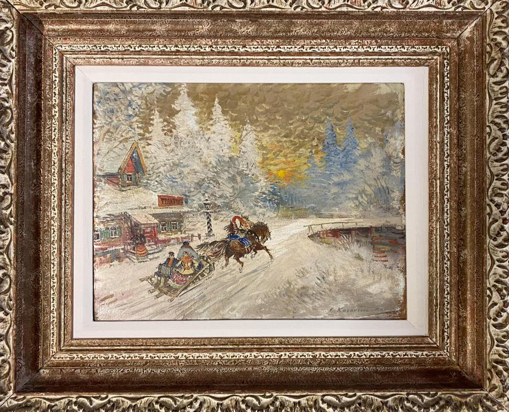 KONSTANTIN KOROVIN (1861-1939) A Sleigh Ride Through the Village - signed and [...] - Image 3 of 5