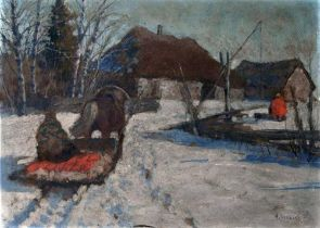 ANDREI EGOROV (1878-1954) Winter landscape - signed 'A Jegorov' (lower right) oil [...]