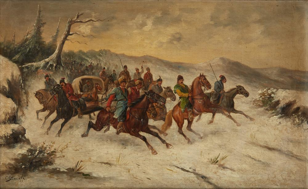 CONSTANTIN STOILOFF (Adolf Baumgartner-Stoiloff) (1850-1924) Cossacks - signed 'C [...]