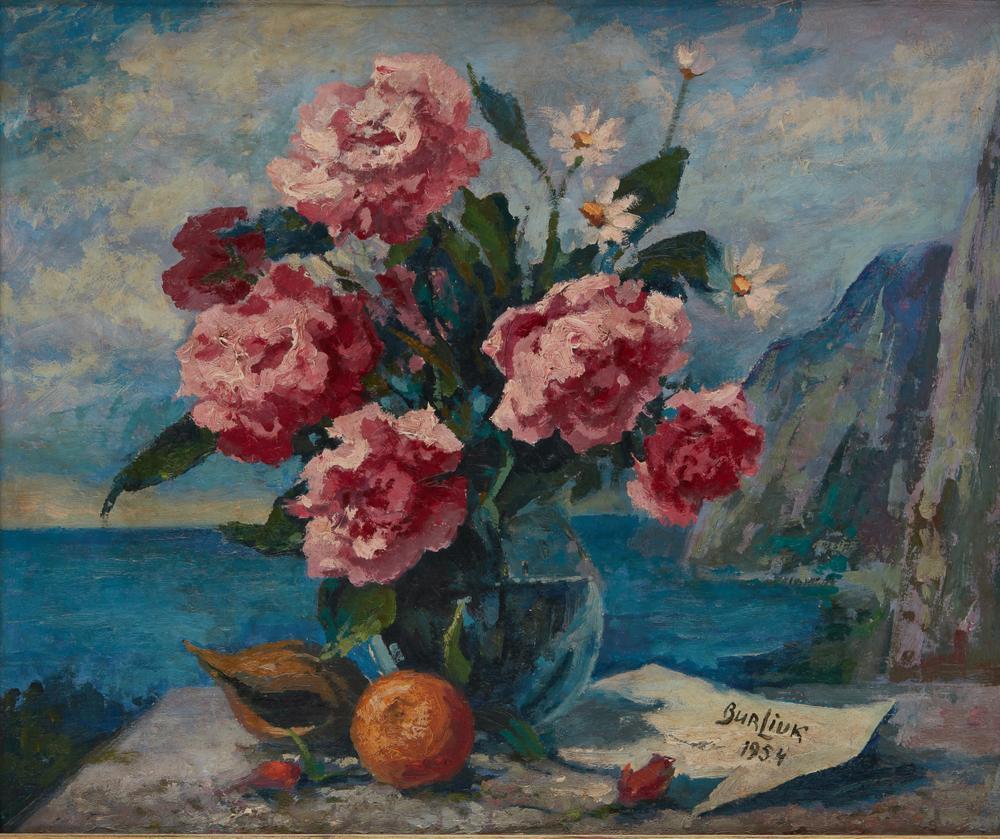DAVID BURLIUK (1882-1967) Peony bouquet with coastal panorama - signed and dated [...]