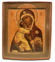 ICON «OUR LADY OF VLADIMIR». Central Russia, XIX century. - Wood (2 ark boards), [...]