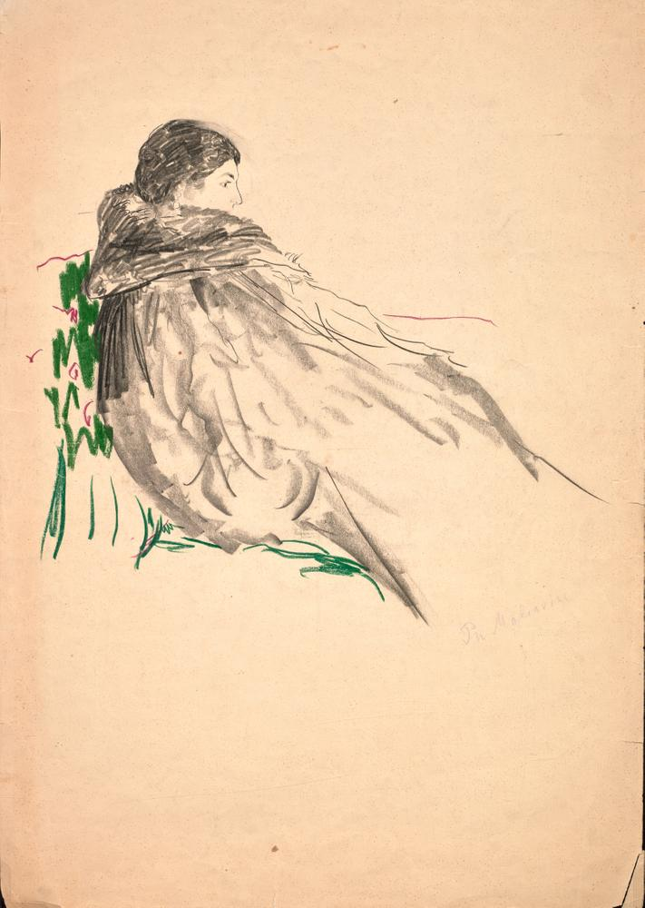FILIPP MALYAVIN (1869-1940) Five Female Portraits - each signed pencil, crayon on [...] - Image 5 of 6