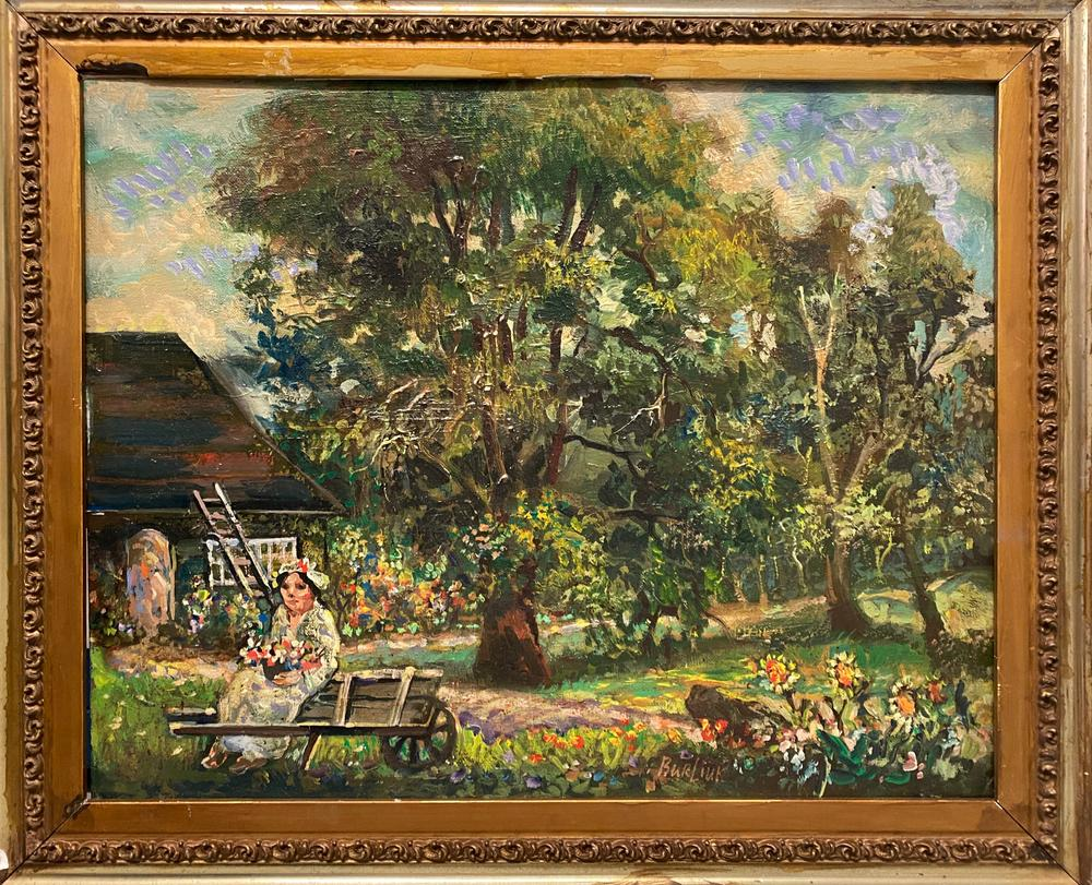 DAVID BURLIUK (1884-1956) Marussia in the garden - signed 'Burliuk' (along the [...] - Image 2 of 2