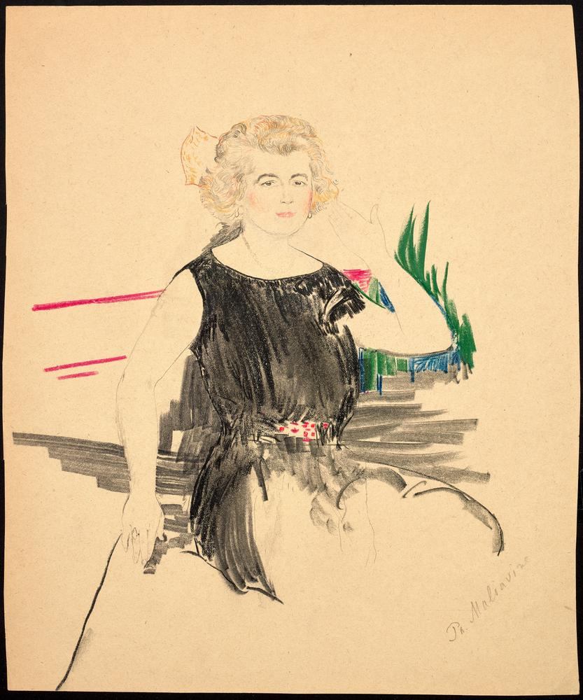 FILIPP MALYAVIN (1869-1940) Five Female Portraits - each signed pencil, crayon on [...] - Image 4 of 6