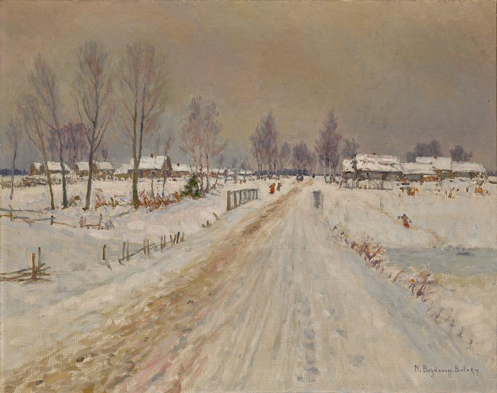 NIKOLAY BOGDANOV-BELSKY (1868-1945) Rural winter landscape - signed 'N Bogdanoff [...]