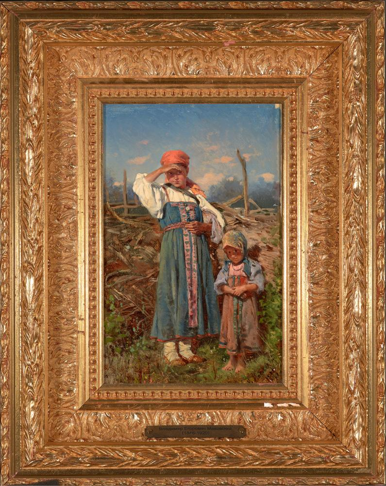 VLADIMIR EGOROVICH MAKOVSKY (1846 -1920) Two peasant girls - signed in Cyrillic and [...] - Image 2 of 3