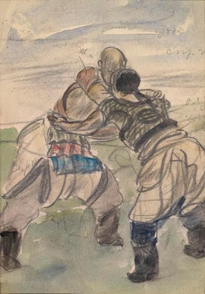 ALEXANDER YAKOVLEV (1887-1938) Two sketches of Chinese Wrestlers - each variously [...] - Image 2 of 2