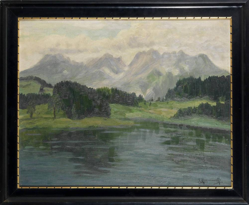 JAKOB KOGANOWSKY (1874-1926) Lake and mountains scene - signed 'J. Koganosky' [...] - Image 2 of 2