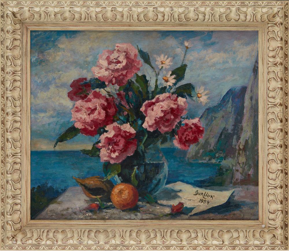 DAVID BURLIUK (1882-1967) Peony bouquet with coastal panorama - signed and dated [...] - Image 2 of 2