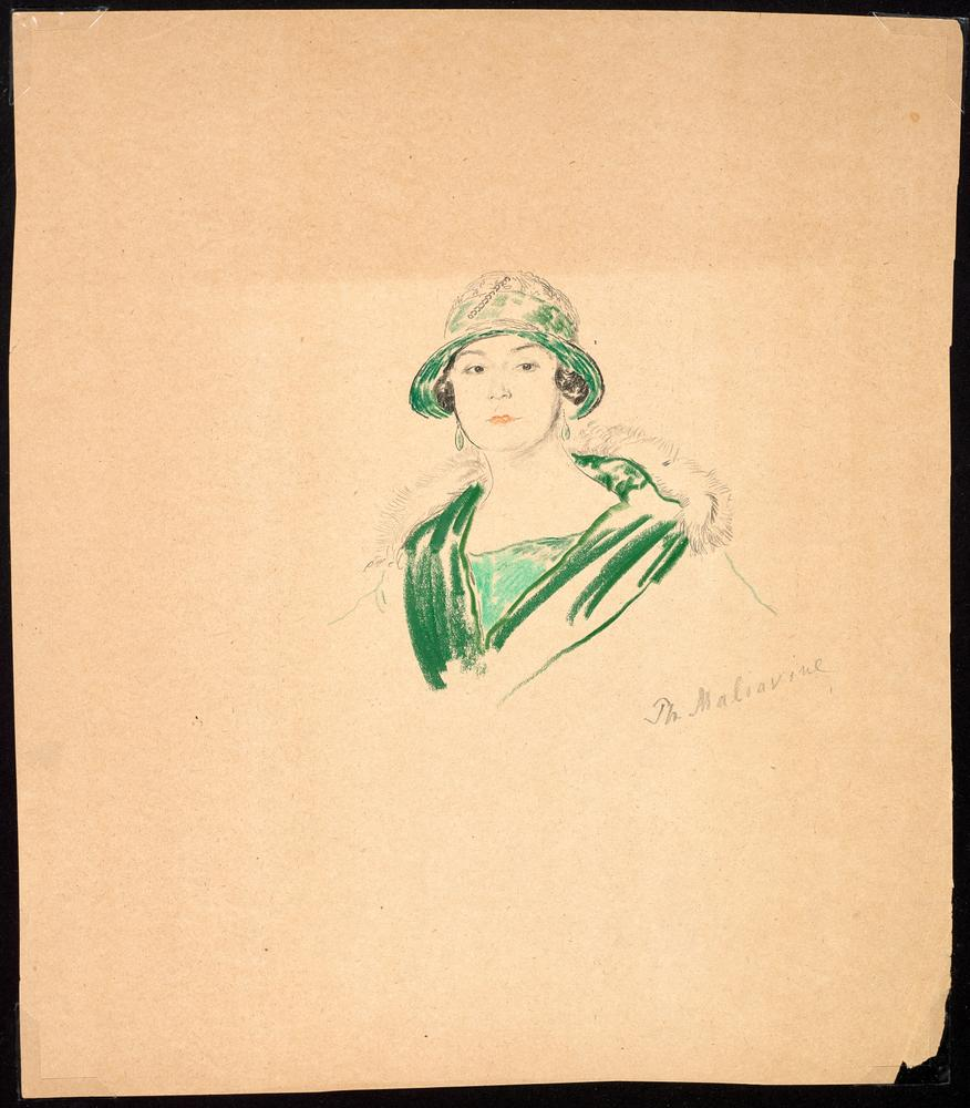 FILIPP MALYAVIN (1869-1940) Five Female Portraits - each signed pencil, crayon on [...] - Image 2 of 6