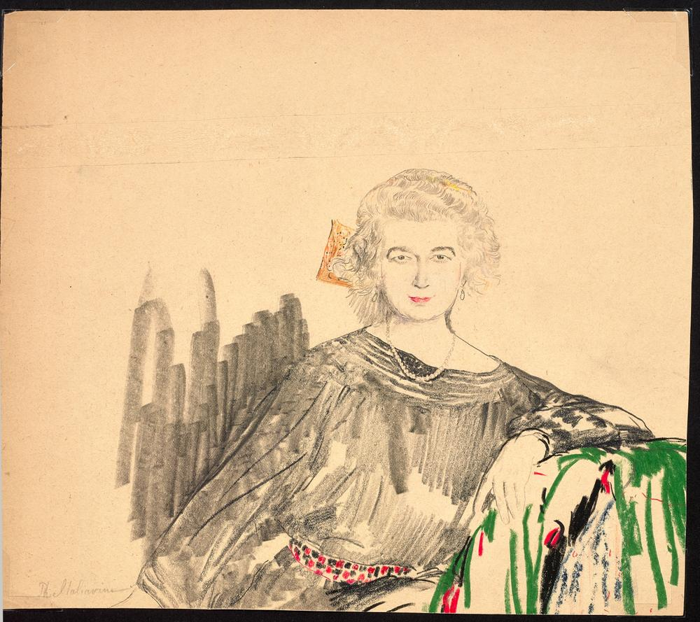 FILIPP MALYAVIN (1869-1940) Five Female Portraits - each signed pencil, crayon on [...] - Image 6 of 6