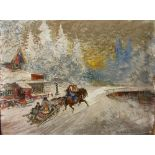 KONSTANTIN KOROVIN (1861-1939) A Sleigh Ride Through the Village - signed and [...]