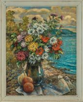 DAVID BURLIUK (1884-1956) Flowers and fruits on a beach - signed 'Burliuk' (lower [...]