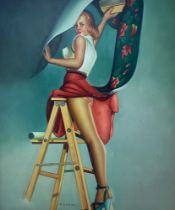 LEONID KRATKO (1925-2001) Girl in a red skirt. Wallpaper - signed in Cyrillic (along [...]
