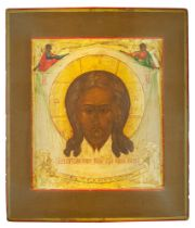 AN ICON «THE HOLY MANDYLION» Vladimir Region, mid-XIX c Wood, gesso, gold leaf, [...]