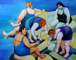 TATYANA NAZARENKO Catching seashells - oil on canvas 80 x 100 cm ⊕This lot is [...]