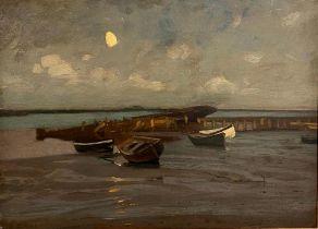 EUGEN DÜCKER (1841-1916) Boats on the shore - signed 'A Ducker' (lower left) oil [...]