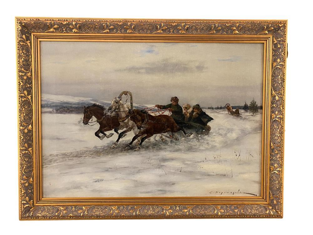 SERGEI VOROSHILOV (1865 - circa 1911) Troika ride in the snow - signed in Cyrillic [...]