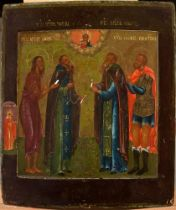 AN ICON «THE SELECTED SAINTS» - ZOSIMA AND SAVVATIY SOLOVETSKY, ALEXEY - MAN OF [...]