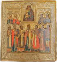 A RUSSIAN ICON «SEEKING OUT THE LOST» IN A SILVER OKLAD Russia, early XIX century. [...]