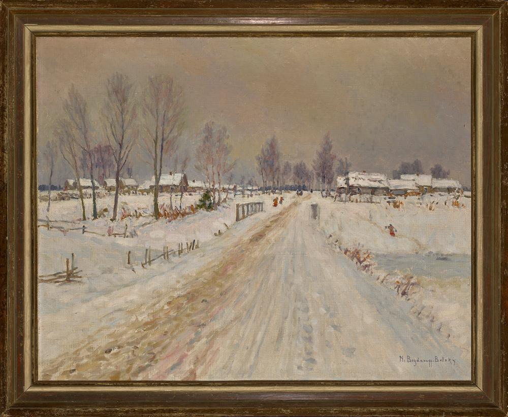NIKOLAY BOGDANOV-BELSKY (1868-1945) Rural winter landscape - signed 'N Bogdanoff [...] - Image 2 of 2