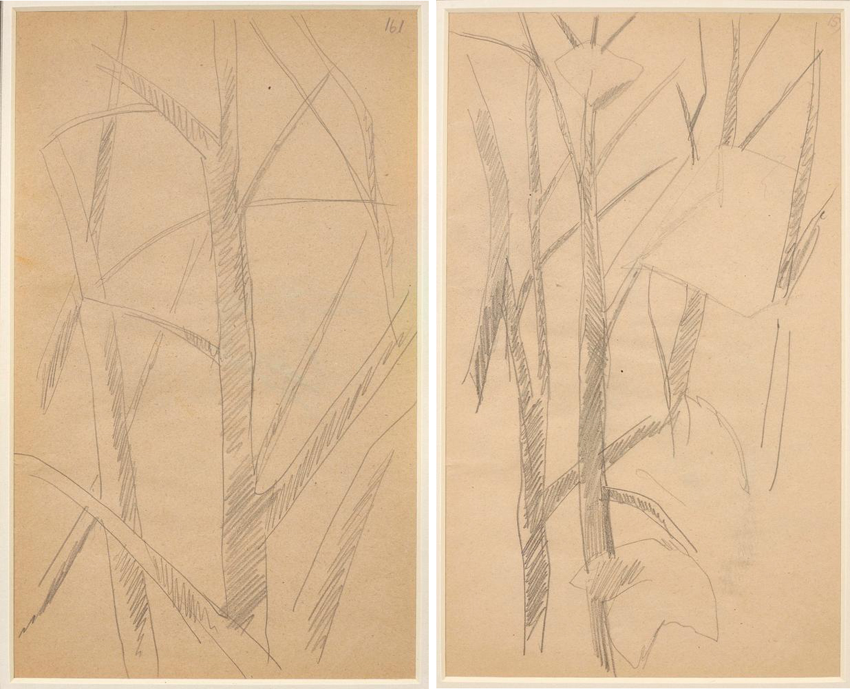 LYUBOV POPOVA (1889-1924) Two Studies of Trees - annotated with numbers '161' and [...]