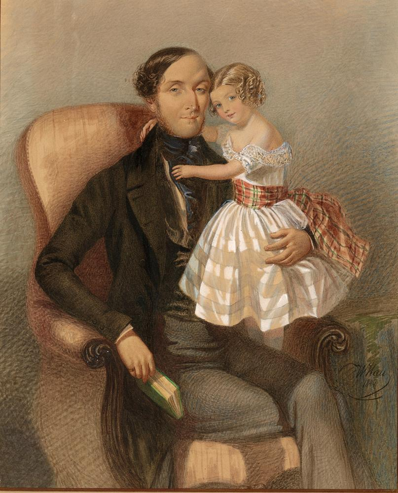 ATTRIBUTED TO VLADIMIR IVANOVIC GAU (1816-1895) Portrait of a Man with a Girl - [...]