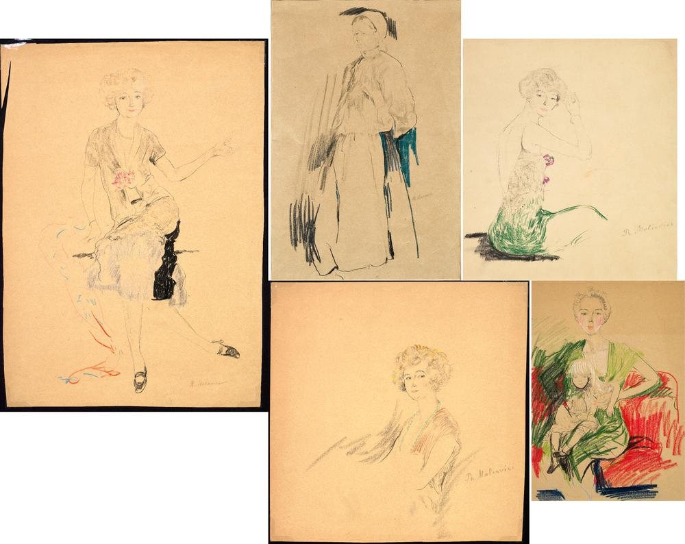 FILIPP MALYAVIN (1869-1940) Five Female Portraits - each signed pencil, crayon on [...]