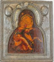A RUSSIAN ICON «THE VLADIMIR MOTHER OF GOD» IN A SILVER-GILT OKLAD. Veliky [...]