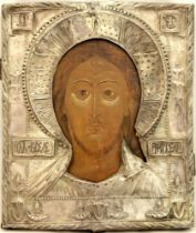 AN ICON «CHRIST PANTOCRATOR» IN A SILVER OKLAD - ussia, Volga region, late [...]