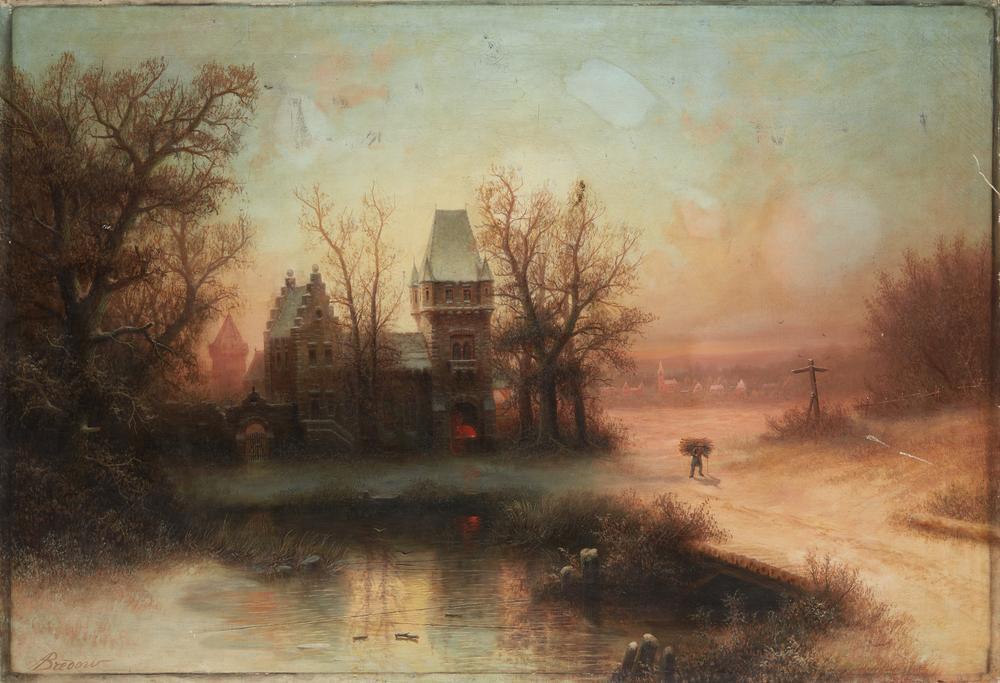 ALBERT BREDOW (1828-1899) Winter scenery at sunset - signed 'A. Bredow' (lower [...]
