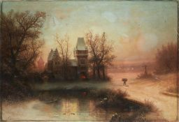 ALBERT BREDOW (1828-1899) Winter scenery at sunset - signed 'A. Bredow' (lower [...]