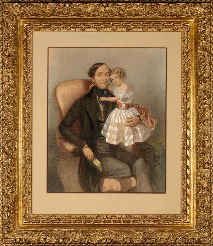 ATTRIBUTED TO VLADIMIR IVANOVIC GAU (1816-1895) Portrait of a Man with a Girl - [...] - Image 2 of 2