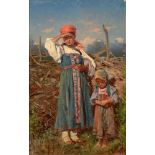 VLADIMIR EGOROVICH MAKOVSKY (1846 -1920) Two peasant girls - signed in Cyrillic and [...]