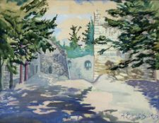 ALEXANDER BENOIS DI STETTO (1896–1979) Castle ruins - signed and dated 'A Benois [...]