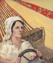 LUDMILA KAZINKINA Female tractor driver - signed 'Kazinkina Ludmila' (lower [...]