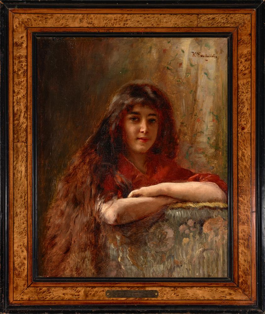 KONSTANTIN MAKOVSKY (1839-1915) Portrait of a young girl - signed in Cyrillic (upper [...] - Image 2 of 5