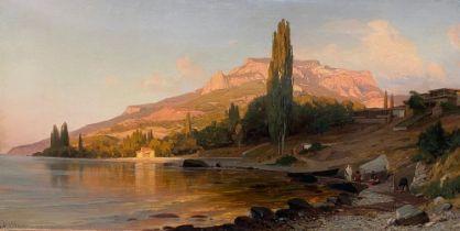 VLADIMIR ORLOVSKY (1842 - 1914) Mending fishing nets by the Crimean Coast - signed [...]