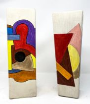 V. DREVIN A PAIR OF GEOMETRIC CERAMIC VASES - each signed in Cyrillic 'V [...]