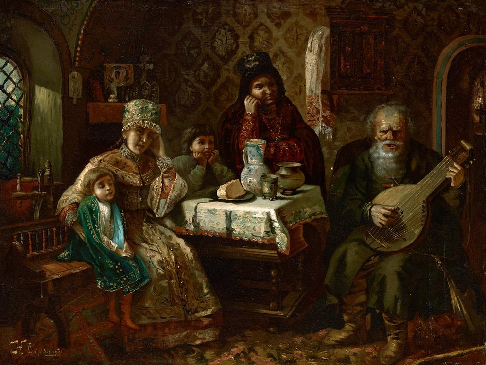 NIKOLAI VORONIN, AFTER KONSTANTIN MAKOVSKY (1839-1915) Portrait a domra player - [...]