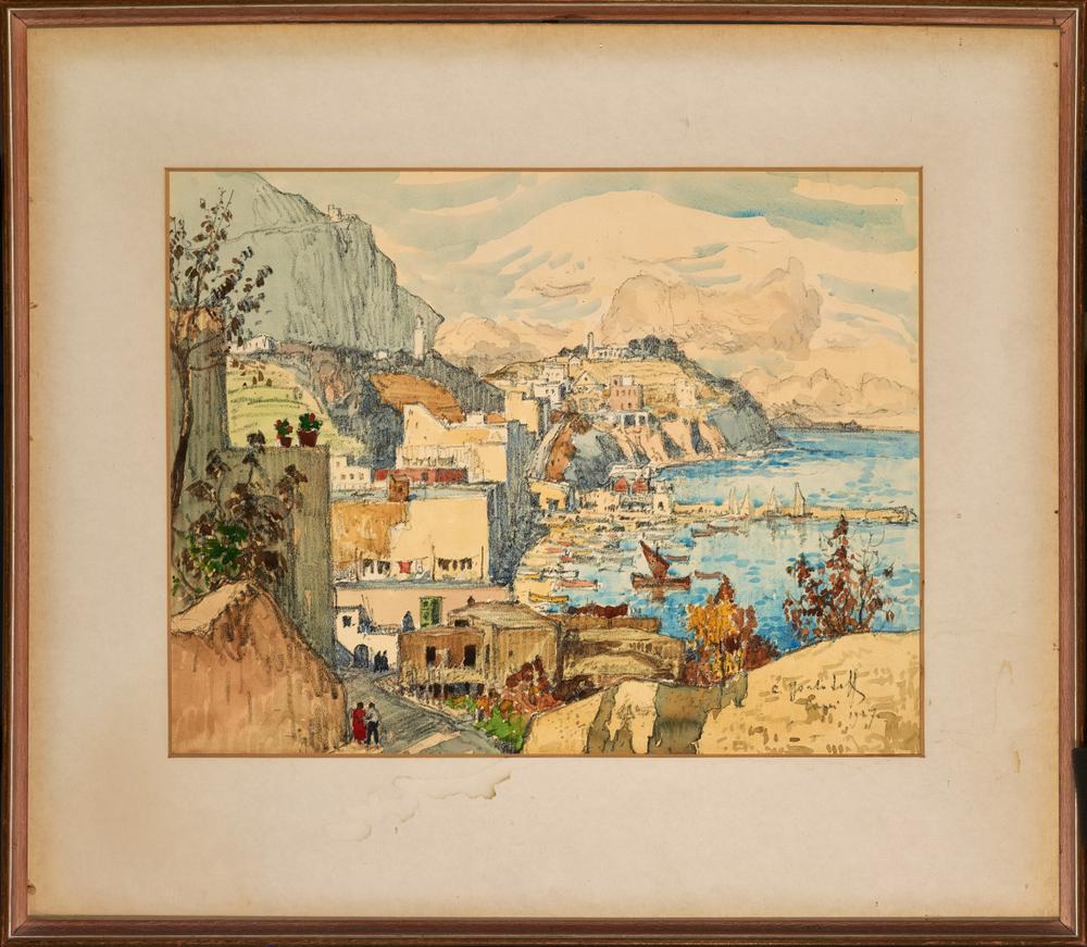 KONSTANTIN GORBATOV (1876-1945) View of Capri - signed, inscribed and dated 'C [...] - Image 2 of 2