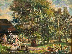 DAVID BURLIUK (1884-1956) Marussia in the garden - signed 'Burliuk' (along the [...]