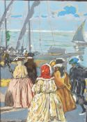 AUGUSTE LEROUX (1871-1954) - Untitled (Walk on the port) Signed 'Auguste Leroux' [...]