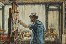 PHILIP REISMAN (1904-1992) - Painter in his studio (Shoulberg) Signed 'Philip [...]