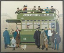 JAN BALET (1913-2009) - In a bus Signed (lower right) Oil on gauze laid on board 50 x [...]